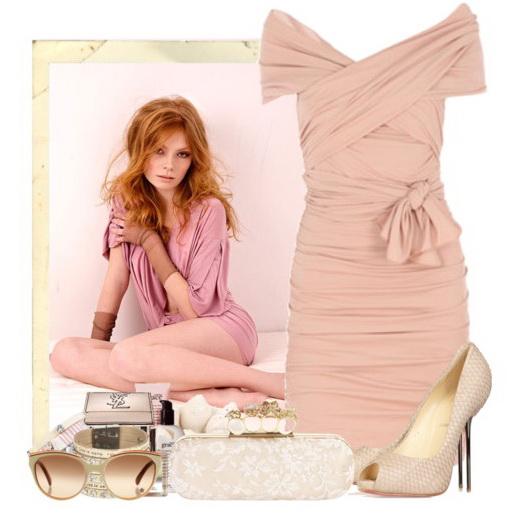 С чем носить розовое платье. и украшениями из прозрачных камней.
