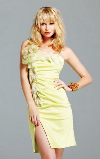 Короткое сатиновое платье Faviana.