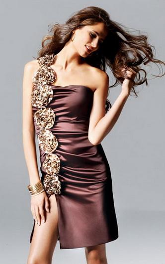 Короткое сатиновое платье Faviana One Shoulder, Short Stretch Satin...
