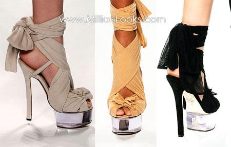 Мода весна 2010 - сумки.  Необычный каблук - тренд весенней...